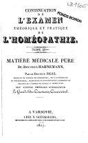 Examen théorique et pratique de la méthode curative du docteur Hahnemann nommée homéopathie