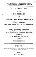 A catechism of the principles of English grammar. By a friend to youth
