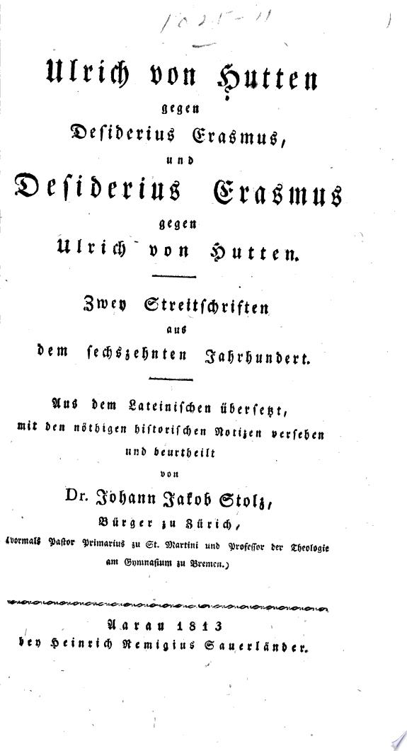 Ulrich von Hutten gegen Desiderius