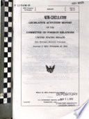 Legislative Activities Report of the Committee on Foreign Relations, United States Senate