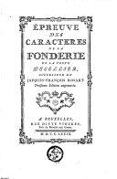 Epreuves des caractères de la fonderie de la Veuve Decellier, successeur de J. F. Rosart