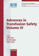 Advances in Transfusion Safety Book