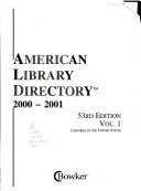 American Library Directory  2000 2001