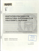 Adaptation Strategies for Agricultural Sustainability in Yolo County  California