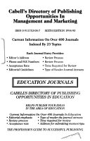 Cabell S Directory Of Publishing Opportunities In Accounting Economics And Finance