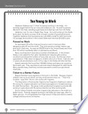 Test Prep Level 5  Too Young to Work Comprehension and Critical Thinking Book