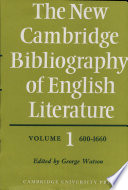 The New Cambridge Bibliography Of English Literature Volume 1 600 1660 Book PDF