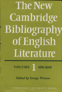 The New Cambridge Bibliography of English Literature  Volume 1  600 1660