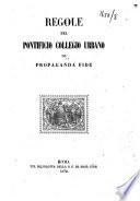 Regole del Pontificio Collegio Urbano de Propaganda Fide