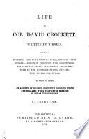 Life of Col  David Crockett Book