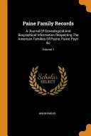 Paine Family Records