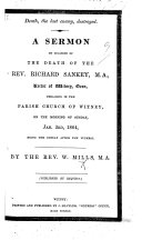 Death the last enemy  destroyed  A sermon  on 1 Cor  xv  26  on occasion of the death of     R  Sankey  etc