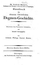 Handbuch der ältesten christlichen dogmengeschichte