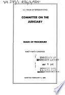 Rules of procedure : Ninety-ninth Congress, adopted February 5, 1985