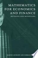Mathematics for Economics and Finance Book