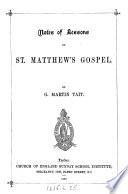 Notes Of Lessons On St Matthew S Gospel