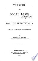 Township and Local Laws of the State of Pennsylvania Book