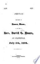 1776  1876  Oration Delivered at Essex  Mass   July 4th  1876 Book