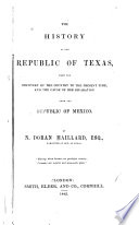 The History of the Republic of Texas Book