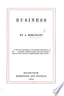 Business By A Merchant Frank Carr