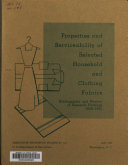 Properties and Serviceability of Selected Household and Clothing Fabrics ebook