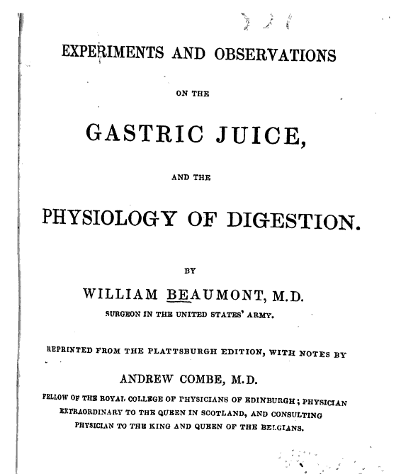 Experiments and observations of the gastric juice book title page
