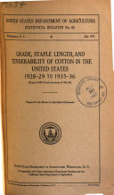 Grade  Staple Length  and Tenderability of Cotton in the United States