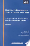 Corporate Governance and Finance in East Asia: Country studies