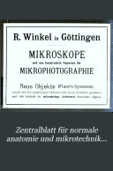 Zentralblatt für normale anatomie und mikrotechnik...