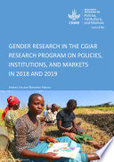 Gender research in the CGIAR research program on policies  institutions  and markets in 2018 and 2019