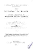 The Psychology of Number and Its Applications to Methods of Teaching Arithmetic