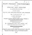Pdf The New Pocket Dictionary of the Italian and English Languages, in Two Parts Italian and English-English and Italian. ... A New Edition ... Corrected Throughout by A. Montucci and J. Sivrac