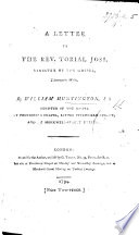 A Letter to the Rev. T. Joss [on being charged by him with Antinomianism].