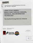 Large scale Energy Reductions Through Sensors  Feedback  and Information Technology Book