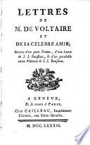 Lettres De M De Voltaire Et De Sa Célèbre Amie Suivies D