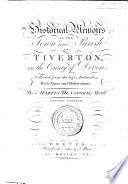 Historical Memoirs of the Town and Parish of Tiverton     Second edition   With an engraved portrait