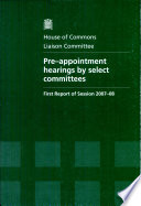 Pre Appointment Hearings By Select Committees