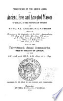 Proceedings of the Grand Lodge of Ancient, Free, & Accepted Masons of Canada