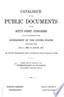 Catalogue of the Public Documents of the     Congress and of All Departments of the Government of the United States Book