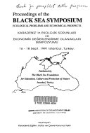 Proceedings of the Black Sea Symposium  Ecological Problems and Economic Prospects Book