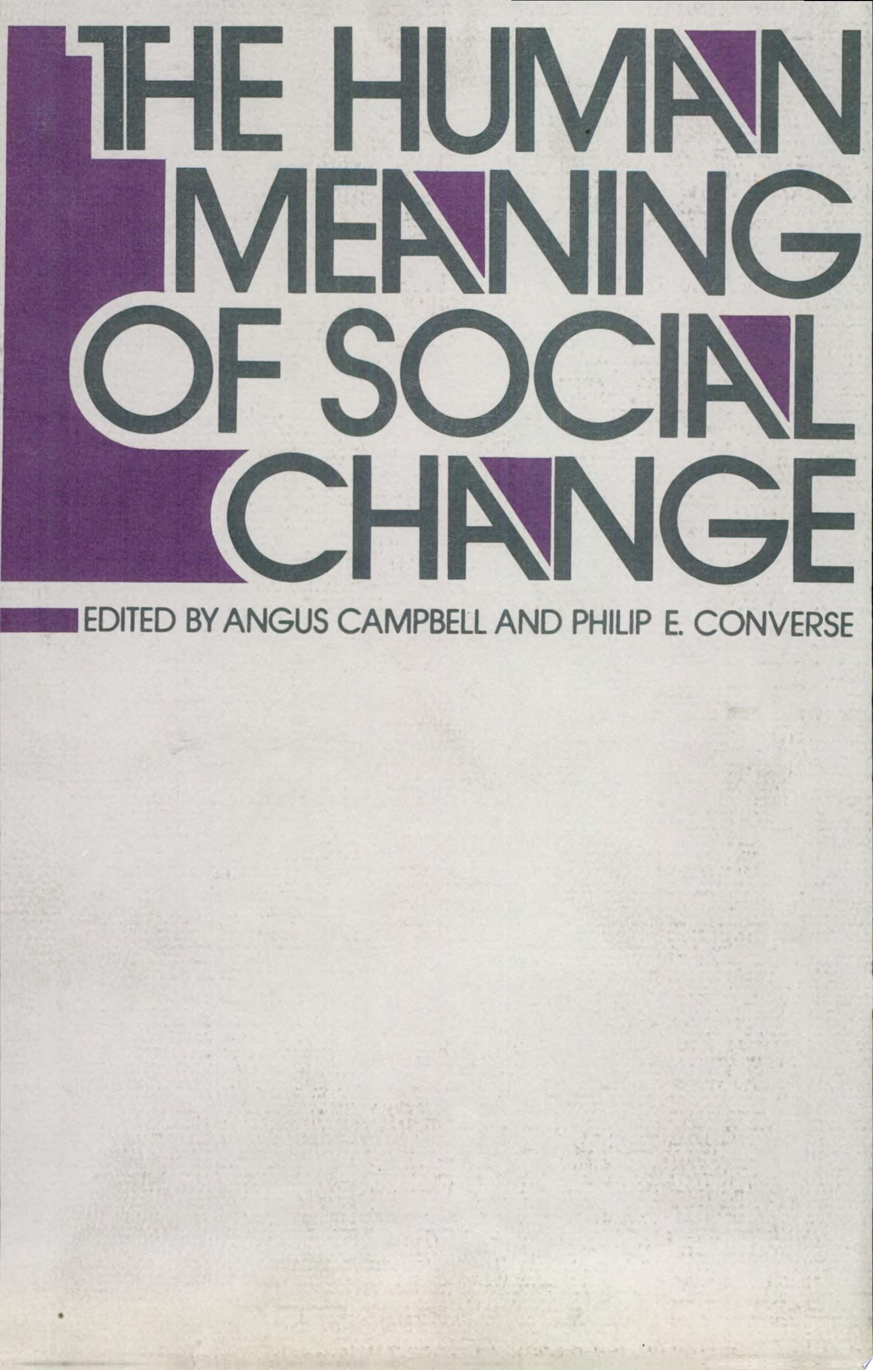 The Human Meaning of Social Change