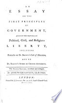 An Essay On The First Principles Of Government Book