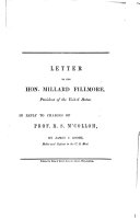Letter to the Hon  Millard Fillmore  President of the United States