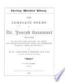 The Complete Poems of Dr  Joseph Beaumont  1615 1699   Psyche  cantos XII XXIV  Minor poems in English and Latin  Glossarial index
