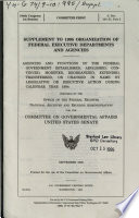 Supplement To 1995 Organization Of Federal Executive Departments And Agencies