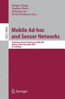 Mobile Ad hoc and Sensor Networks