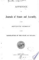 Appendix to Journals of Senate and Assembly     of the Legislature Book