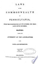 Laws of the Commonwealth of Pennsylvania Book