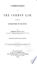 Commentaries on the Common Law