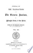 Journal Of The Transactions Of The Victoria Institute Or Philosophical Society Of Great Britain